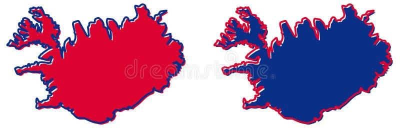 Mapa simplificado del esquema de Islandia El terraplén y el movimiento son nacionales libre illustration