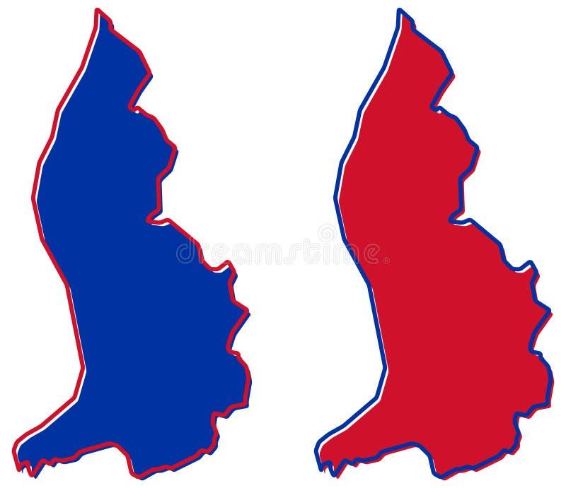 Mapa simplificado del esquema de Liechtenstein El terraplén y el movimiento son nacionales stock de ilustración