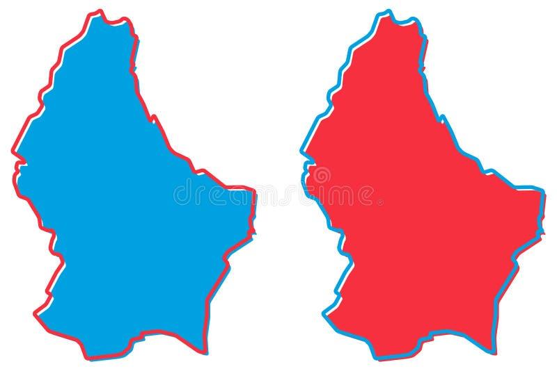 Mapa simplificado del esquema de Luxemburgo El terraplén y el movimiento son nación libre illustration