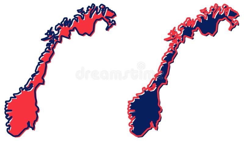 Mapa simplificado del esquema de Noruega El terraplén y el movimiento son c nacional stock de ilustración