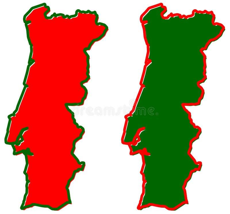 Mapa simplificado del esquema de Portugal El terraplén y el movimiento son nacionales ilustración del vector