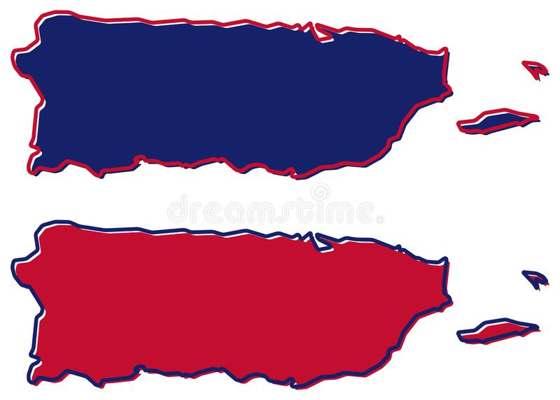 Mapa simplificado del esquema de Puerto Rico El terraplén y el movimiento son natio libre illustration