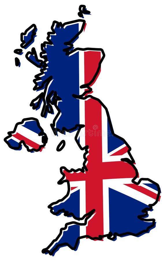 Mapa simplificado del esquema de Reino Unido, con doblado levemente Uni libre illustration