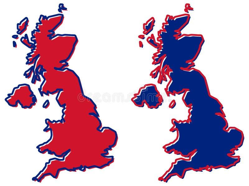 Mapa simplificado del esquema de Reino Unido El terraplén y el movimiento son na stock de ilustración