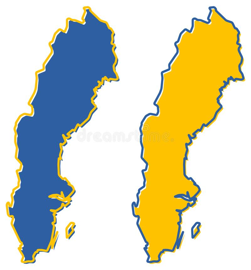 Mapa simplificado del esquema de Suecia El terraplén y el movimiento son c nacional ilustración del vector