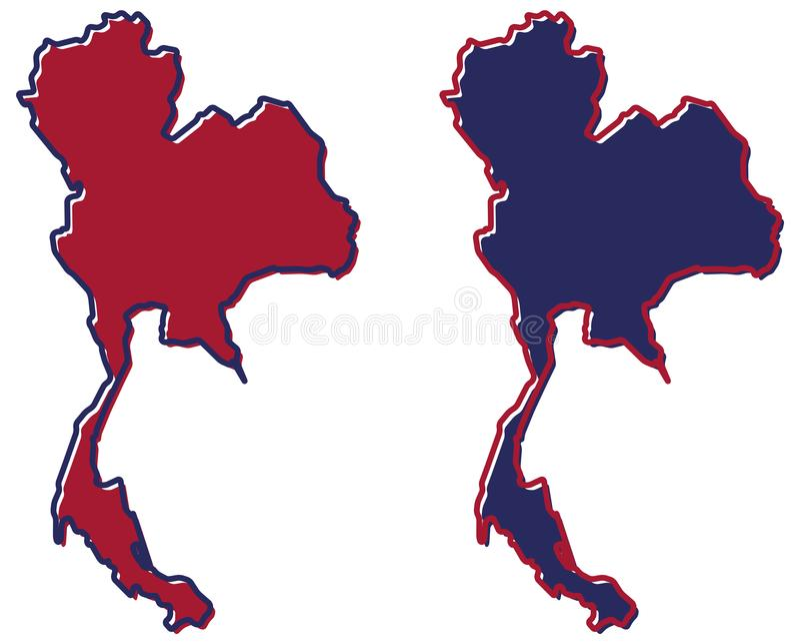 Mapa simplificado del esquema de Tailandia El terraplén y el movimiento son nacionales ilustración del vector