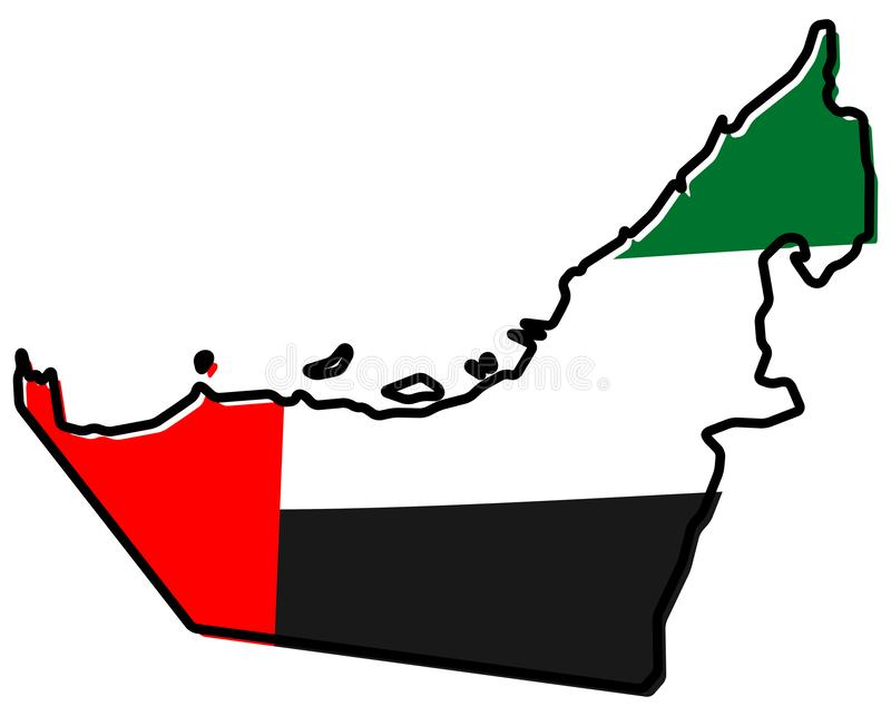 Mapa simplificado del esquema de United Arab Emirates UAE, con el sligh libre illustration
