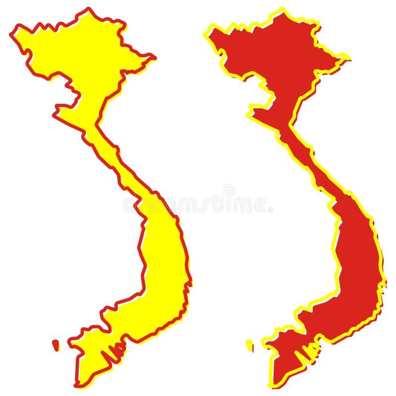 Mapa simplificado del esquema de Vietnam El terraplén y el movimiento son nacionales stock de ilustración