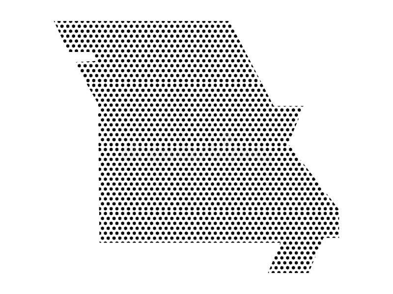 Mapa simplificado do teste padrão pontilhado do estado de E.U. de Missouri ilustração stock