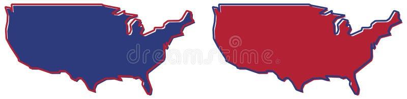 Mapa simplificado - esquema, terraplén y stro de los Estados Unidos de América stock de ilustración