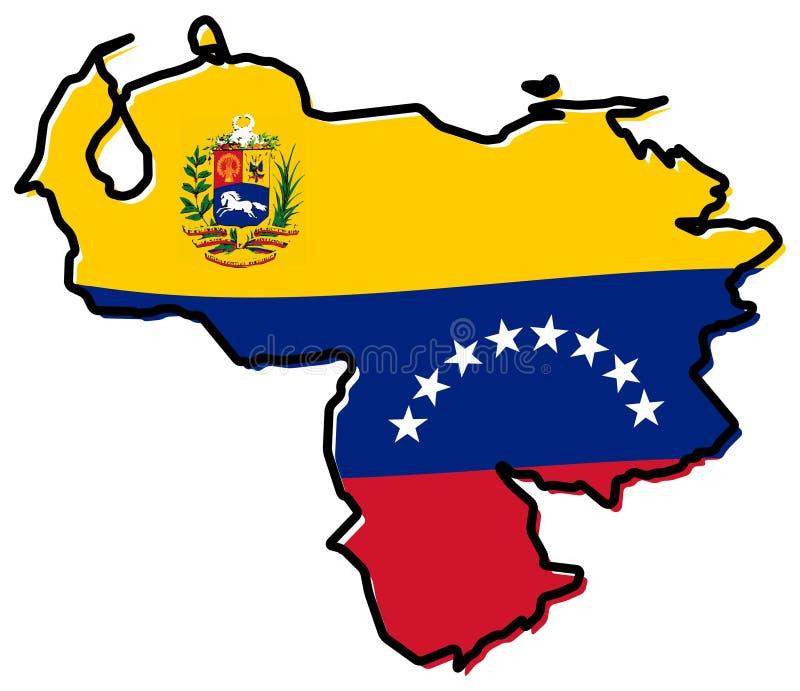 Mapa simplificado - república de Bolivarian del esquema de Venezuela, con stock de ilustración