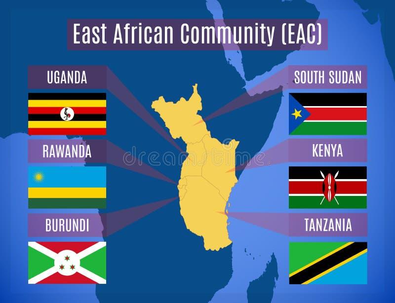 Mapa społeczność wschodnioafrykańska EAC royalty ilustracja