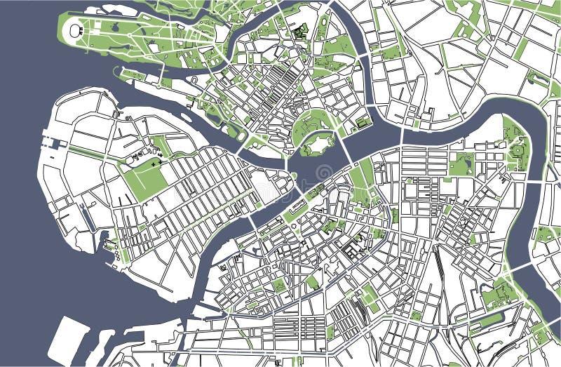 Mapa St Petersburg, Rússia ilustração do vetor