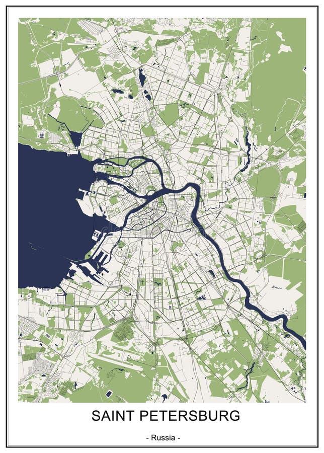 Mapa St Petersburg, Rusia stock de ilustración