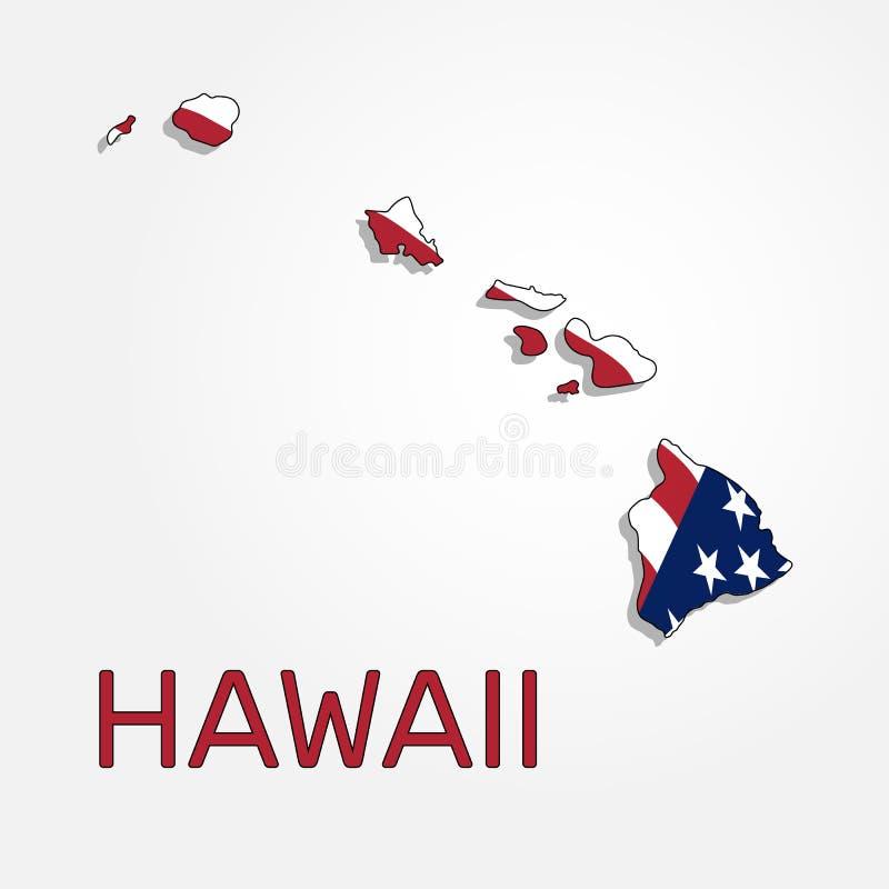Mapa stan Hawaje w połączeniu z falowaniem flaga Stany Zjednoczone - wektor royalty ilustracja