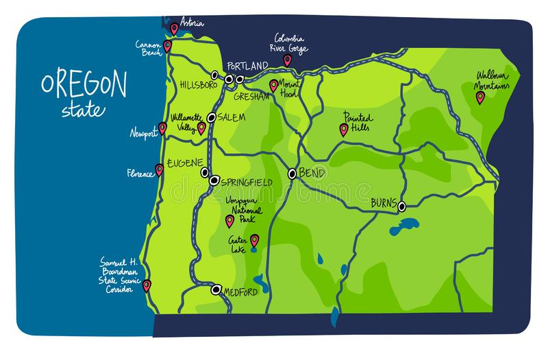 Mapa stanu Oregon zdjęcie stock