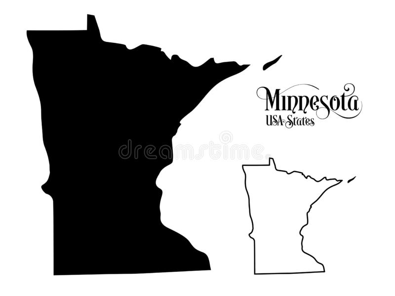 Mapa Stany Zjednoczone Ameryka usa stan Minnestoa - ilustracja na Białym tle ilustracji