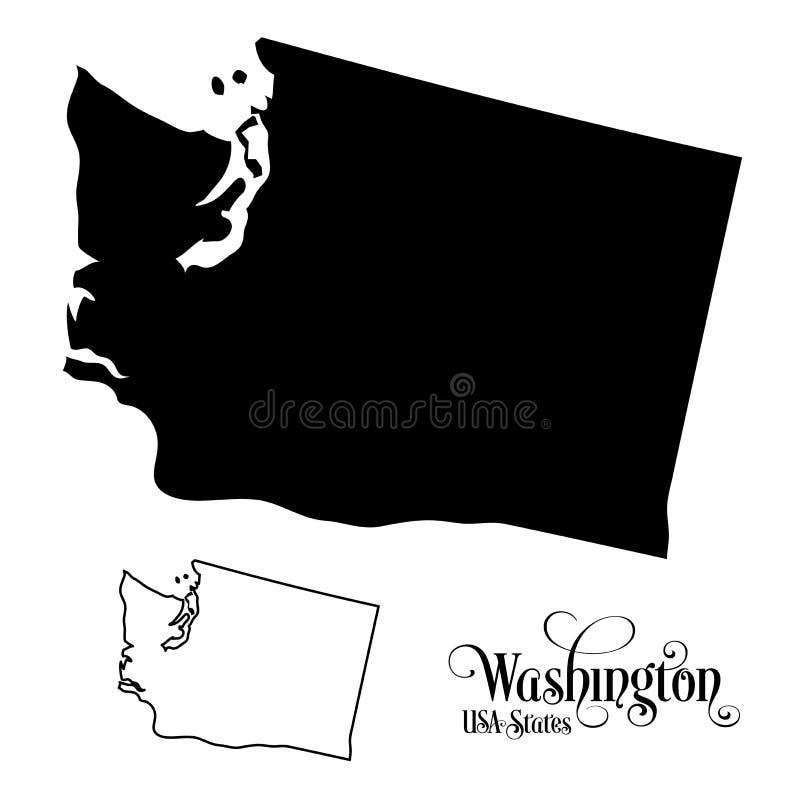 Mapa Stany Zjednoczone Ameryka usa stan Waszyngton - ilustracja na Białym tle ilustracja wektor
