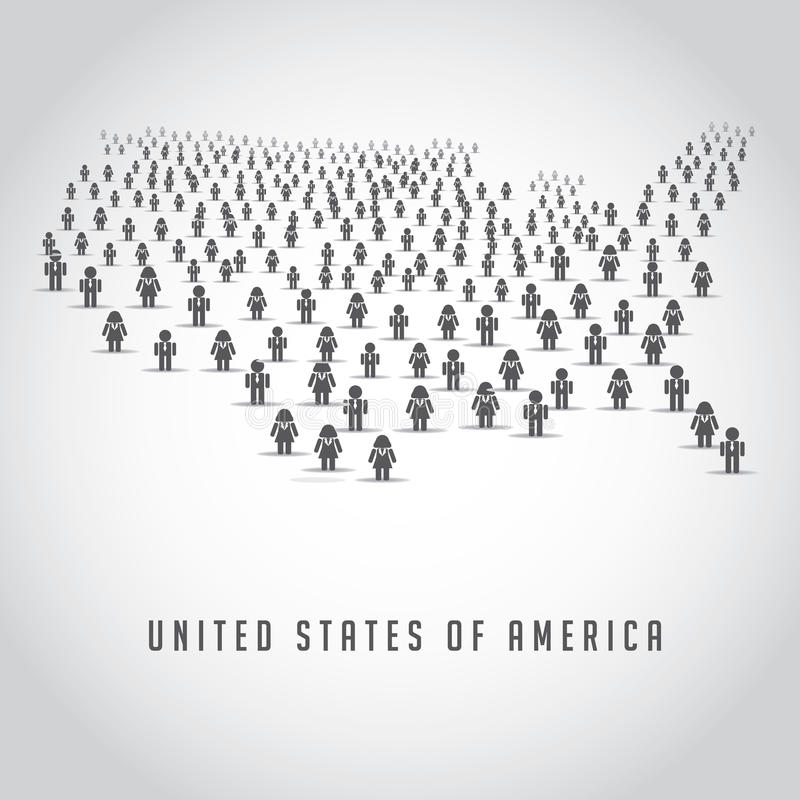 Mapa Stany Zjednoczone robić up tłum ludzie ikon royalty ilustracja