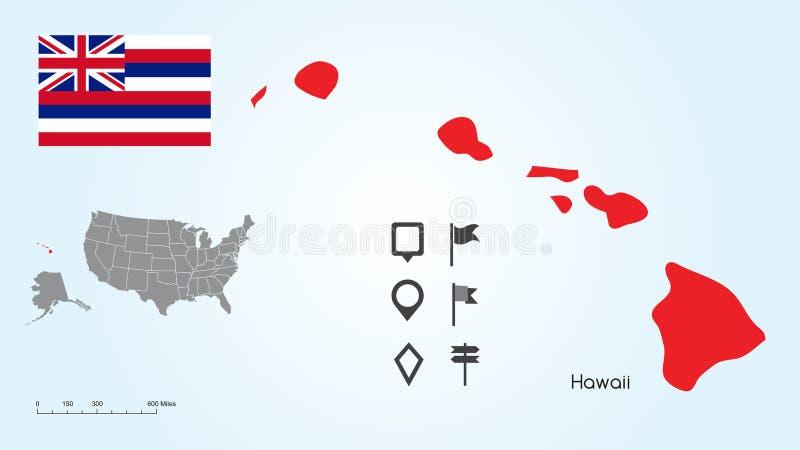 Mapa Stany Zjednoczone z Wybranym stanem Hawaje I Hawaje flagą z Locator kolekcją ilustracji