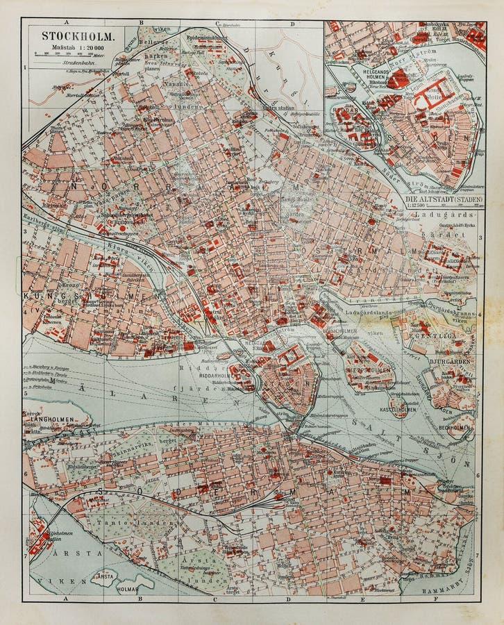 mapa stary Stockholm obraz royalty free