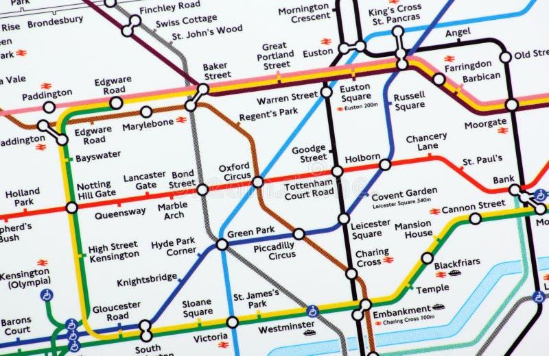 Mapa subterrâneo de Londres fotografia de stock royalty free
