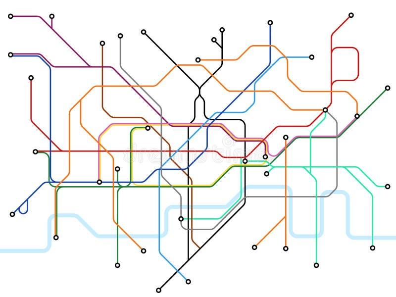Mapa subterrâneo de Londres Esquema do transporte público do metro Plano britânico do vetor do estação de caminhos-de-ferro ilustração do vetor