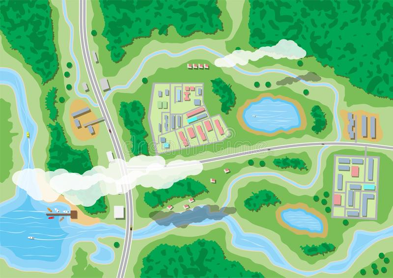 Mapa suburbano da natureza ilustração do vetor