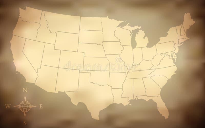 Mapa sujo dos EUA ilustração stock