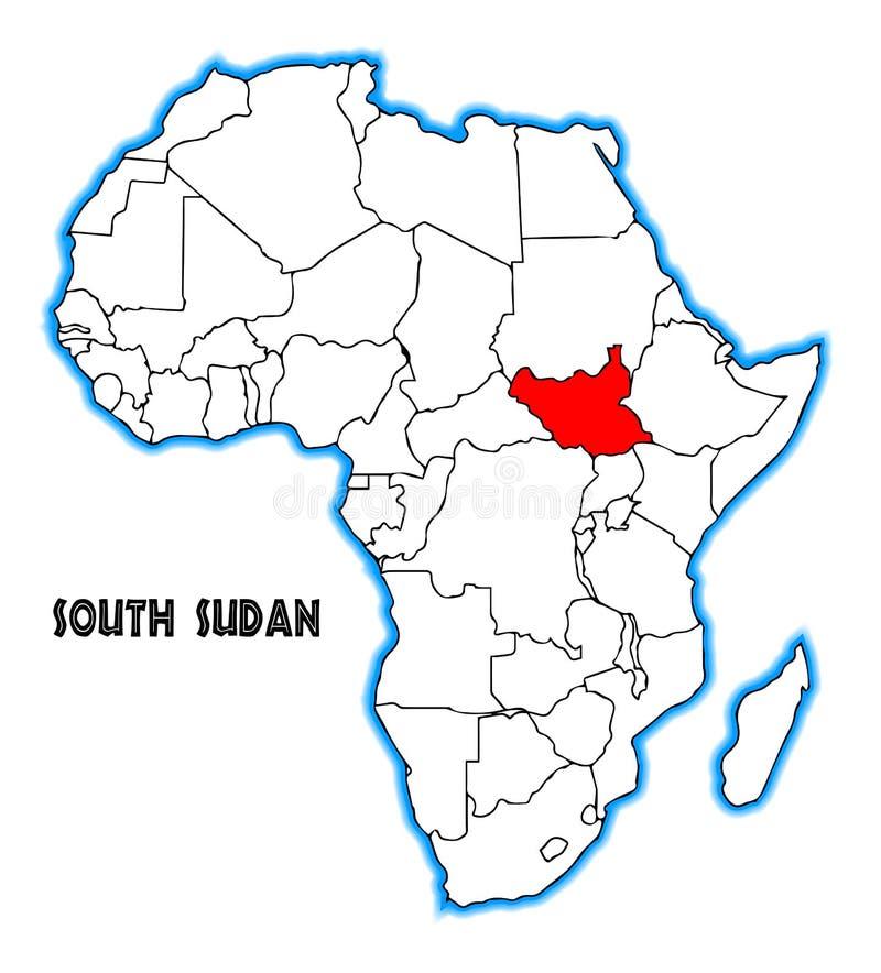 Mapa sul de Sudão África ilustração royalty free