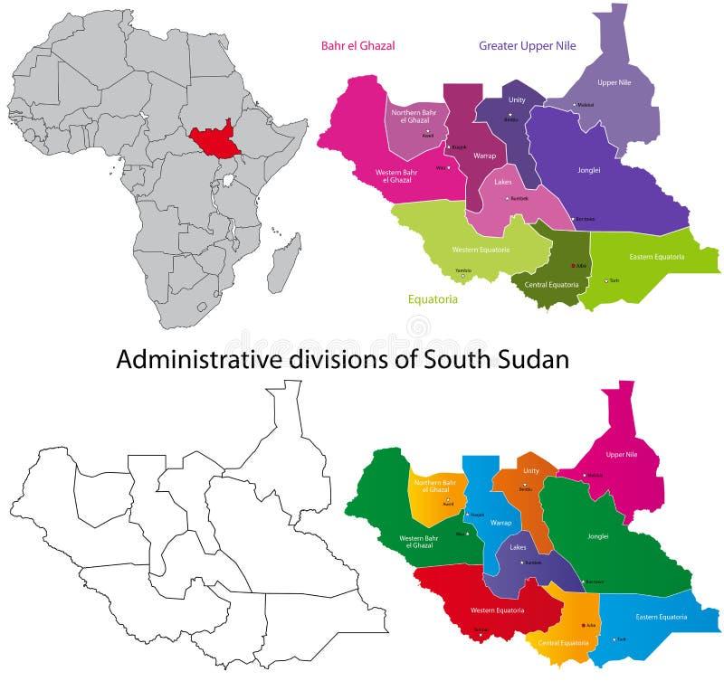 Mapa sul de Sudão ilustração do vetor