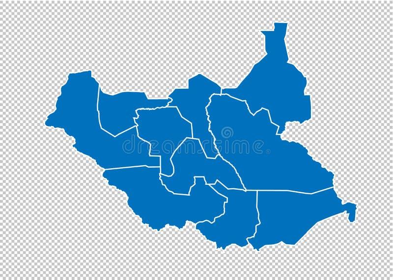 mapa sul de Sudão - mapa azul detalhado alto com condados/regiões/estados de Sudão sul mapa de Sud?o do sul isolado em transparen ilustração stock