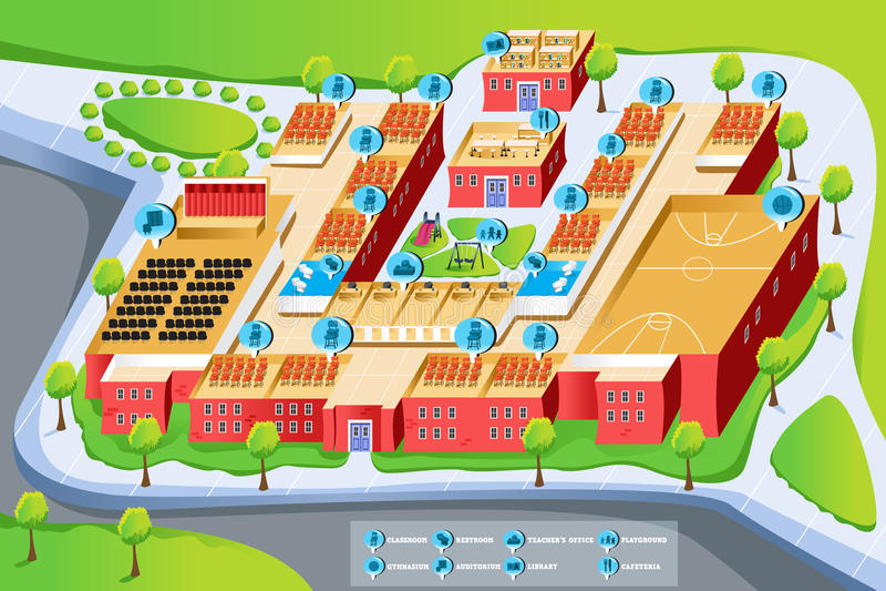 Mapa szkoła ilustracji