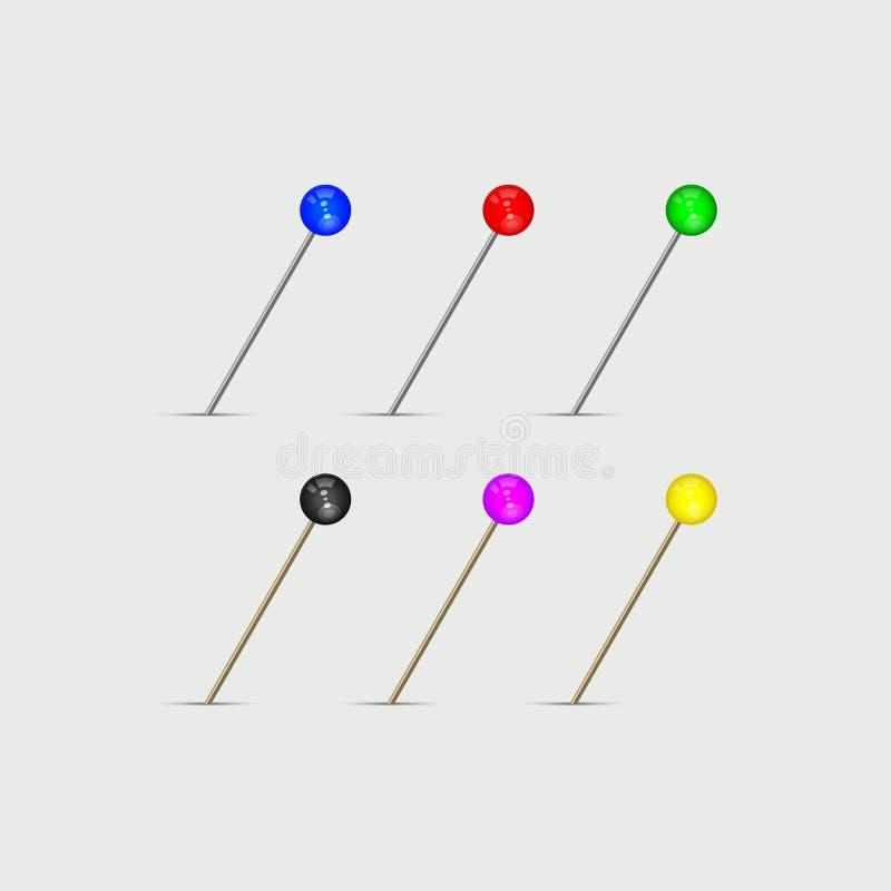 Mapa szpilka Dobierający kolory Stubarwny Pushpin set również zwrócić corel ilustracji wektora ilustracji