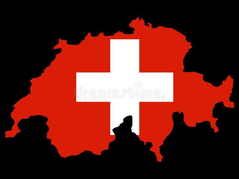 mapa szwajcarzy bandery Szwajcarii ilustracji