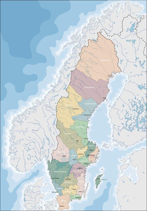 mapa Szwecji ilustracja wektor