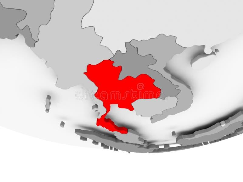 Mapa Tajlandia na popielatej politycznej kuli ziemskiej ilustracji