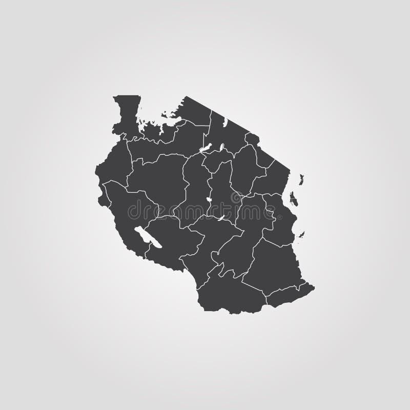 mapa Tanzanii ilustracji
