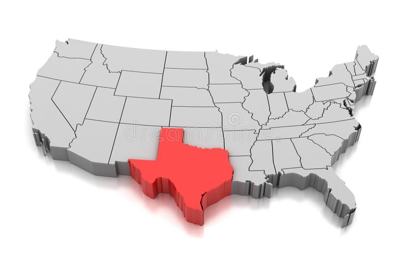 Mapa Teksas stan, usa royalty ilustracja