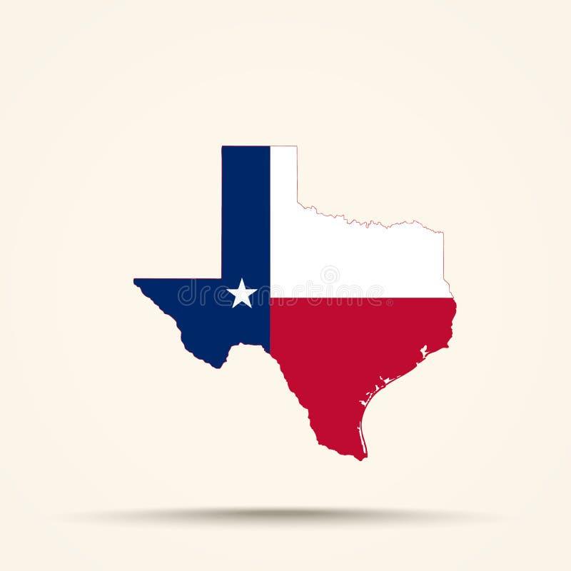 Mapa Teksas w Teksas flagi kolorach zdjęcie royalty free