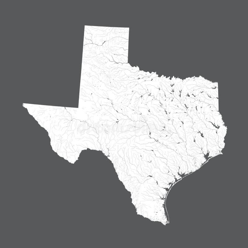 Mapa Teksas z jeziorami i rzekami ilustracji