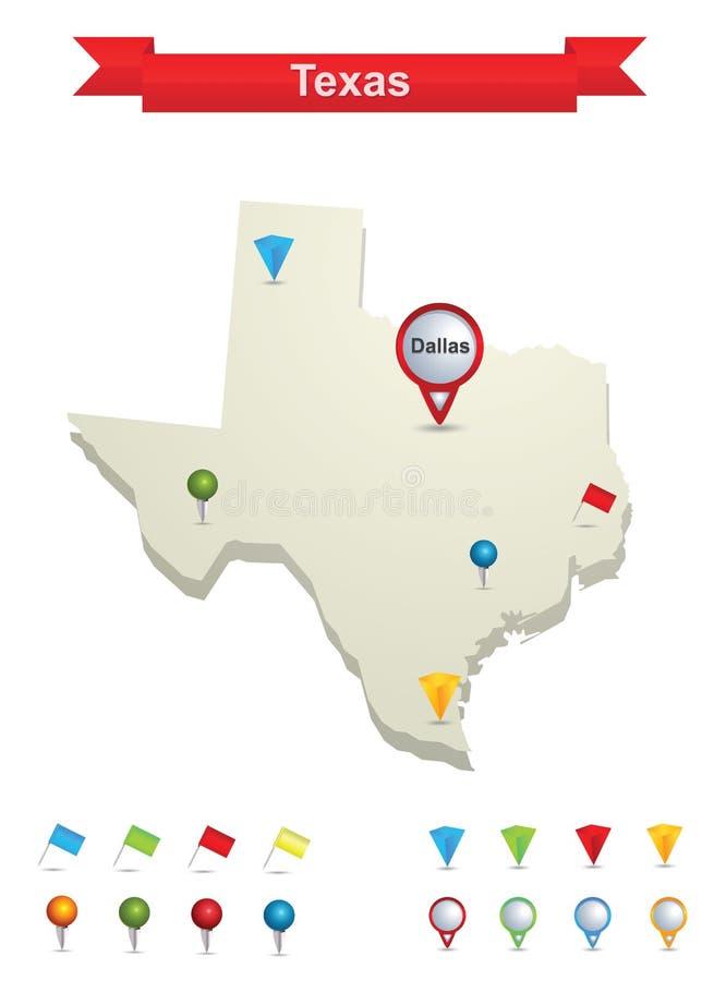 mapa Texas royalty ilustracja