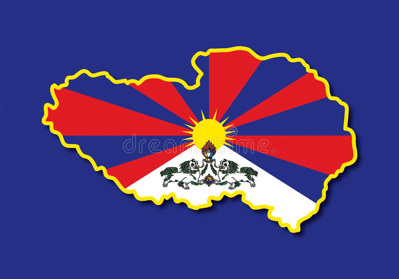 Mapa Tibet do vetor ilustração royalty free