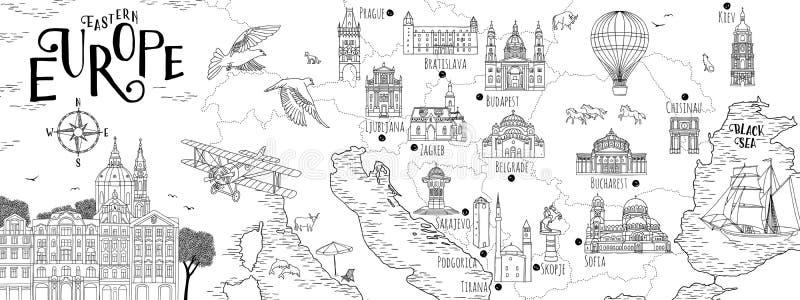 Mapa tirado mão de Europa Oriental ilustração royalty free