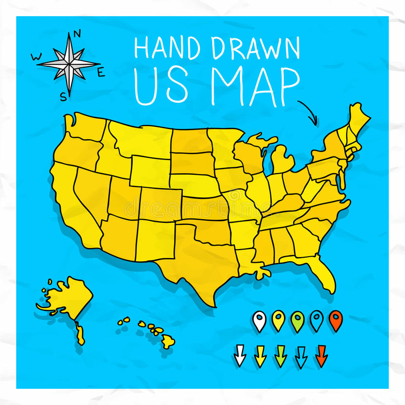 Mapa tirado mão dos E.U. com pinos ilustração do vetor