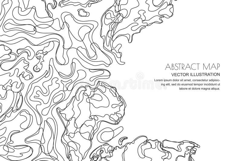 Mapa topográfico abstrato do vetor Fundo da paisagem do esboço com espaço da cópia Topografia, linha textura da geodesia ilustração royalty free