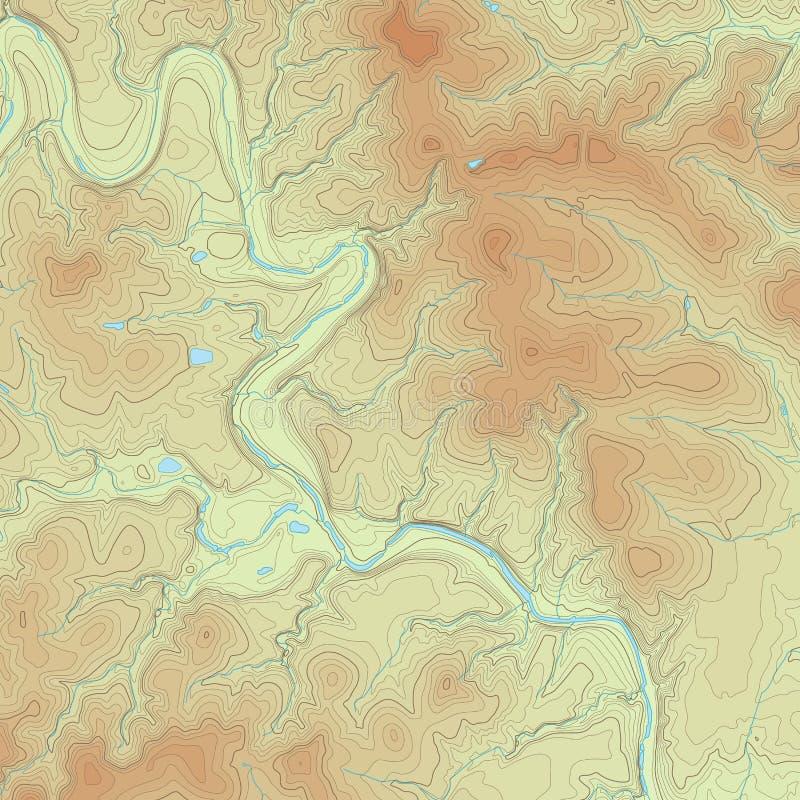 Mapa topográfico coloreado stock de ilustración