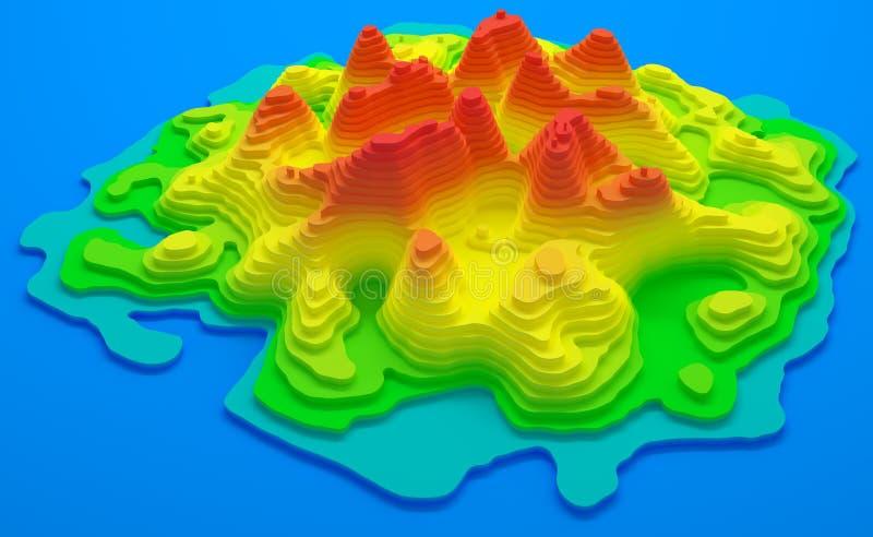 Mapa topográfico de la isla stock de ilustración