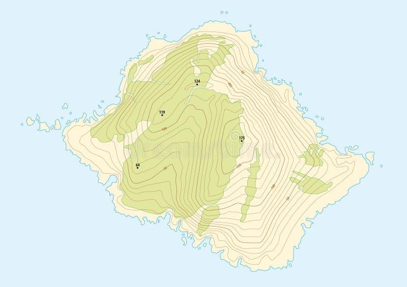 Mapa topográfico de una isla ficticia stock de ilustración