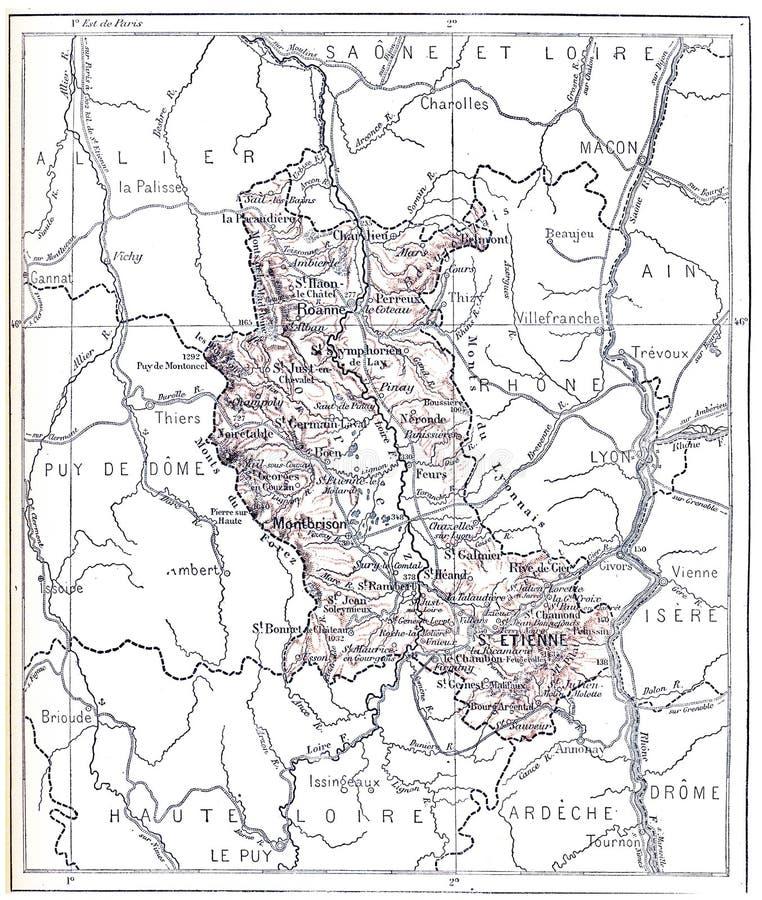 Mapa topográfico del Departamento Administrativo del Loira en Ródano-Alpes, Francia, grabado vintage imágenes de archivo libres de regalías